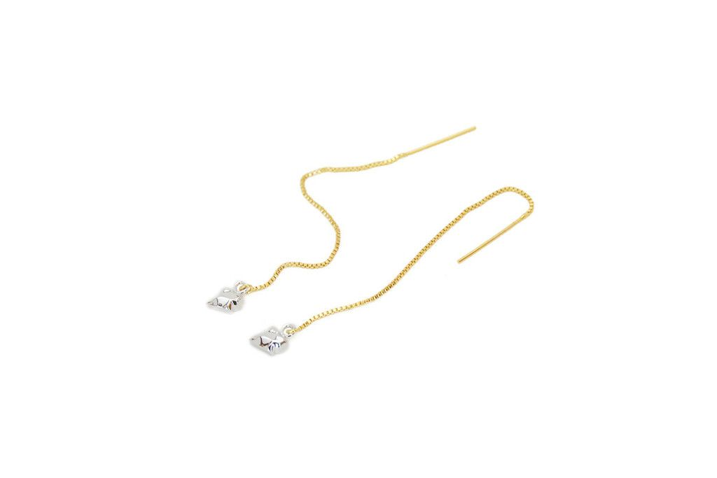 Fang Chain Earrings White Gold and Yellow Gold Chains – Mr Kate