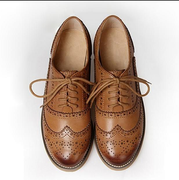 Details about Womens Retro Oxfords Leather Flat Lo