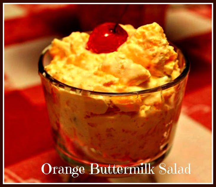 Orange Buttermilk Salad Recipe Yummly Recipe Desserts Jello Recipes Fruit Dishes