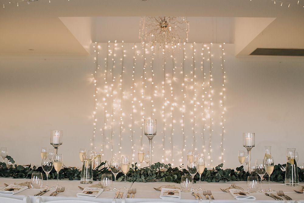 Fairy Light Curtain Top Table Backdrop In 2020 Diy Wedding