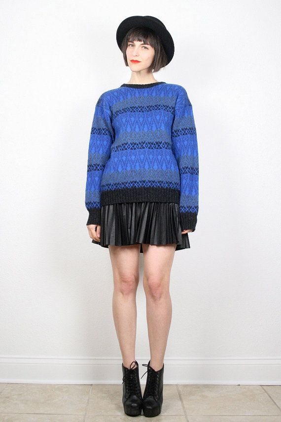 Vintage Blue Black Sweater Cobalt Blue Royal Blue Gray Jumper Pullover 1980s 80s Cosby Sweater Southwestern Chevron Striped Knit M Medium L by ShopTwitchVintage #vintage #etsy #80s #1980s #sweater #jumper #pullover #knit #southwestern #cosby #cosbysweater #newwave #hipster #mod
