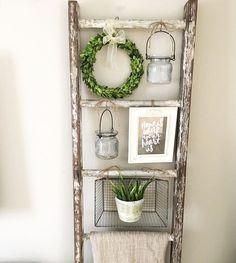 Boxwood Wreath On Ladder Holiday Decor Blanket Hanging Jars Decor Farmhouse Decor Home Decor