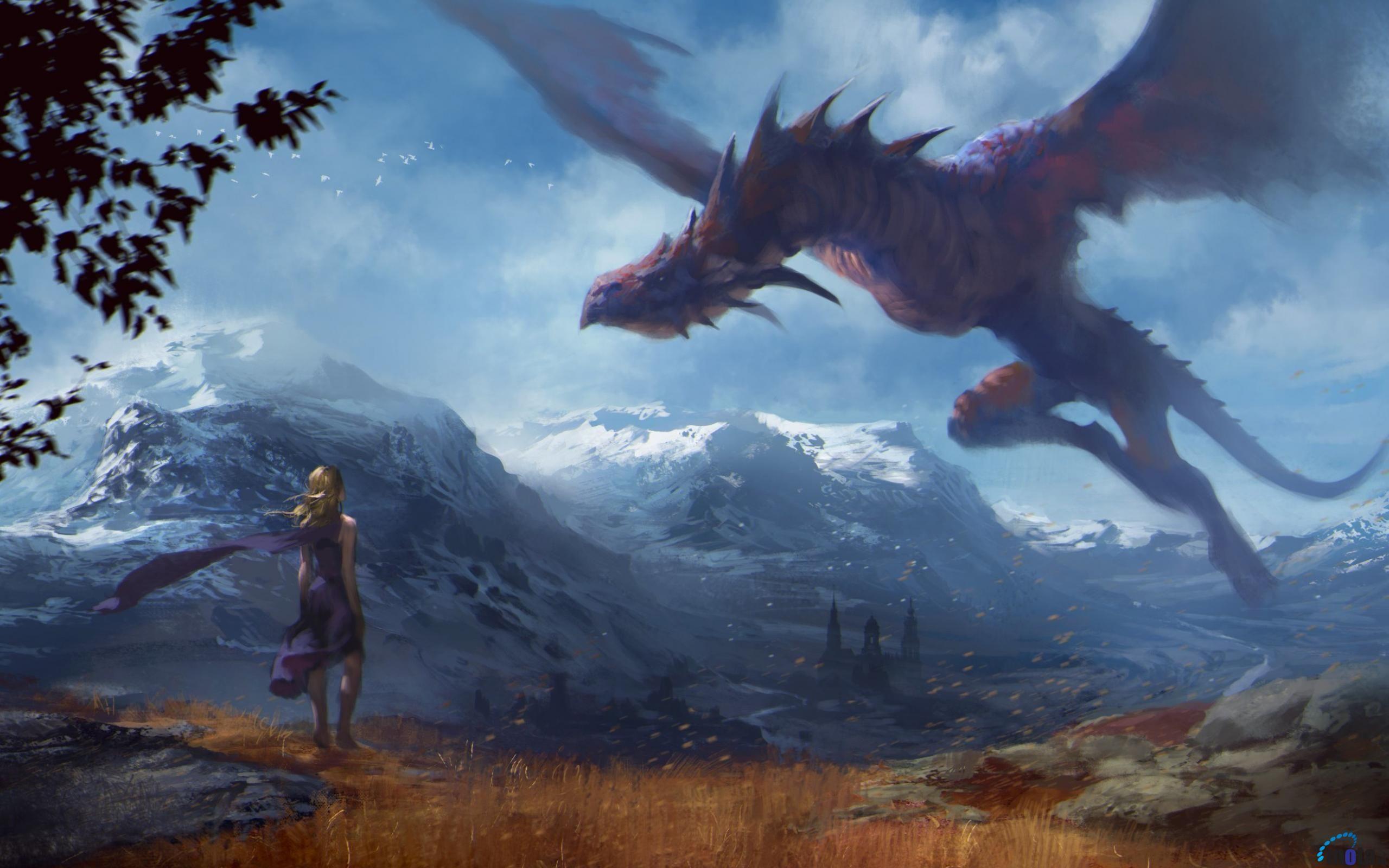 Обои для рабочего стола Девушка и летящий дракон | Фэнтези ...