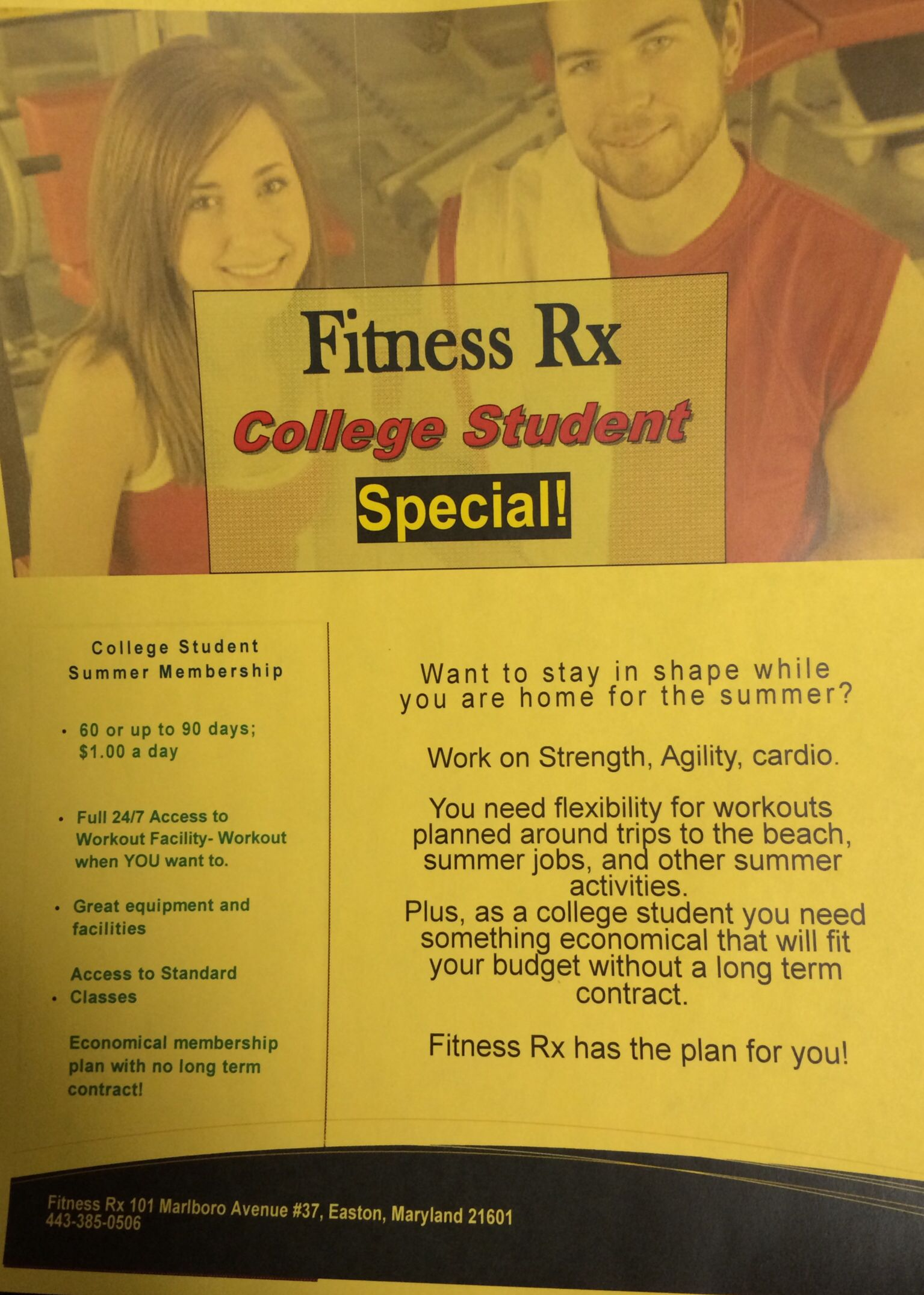 Student summer gym membership special | Fitness Rx 24 hr studios in