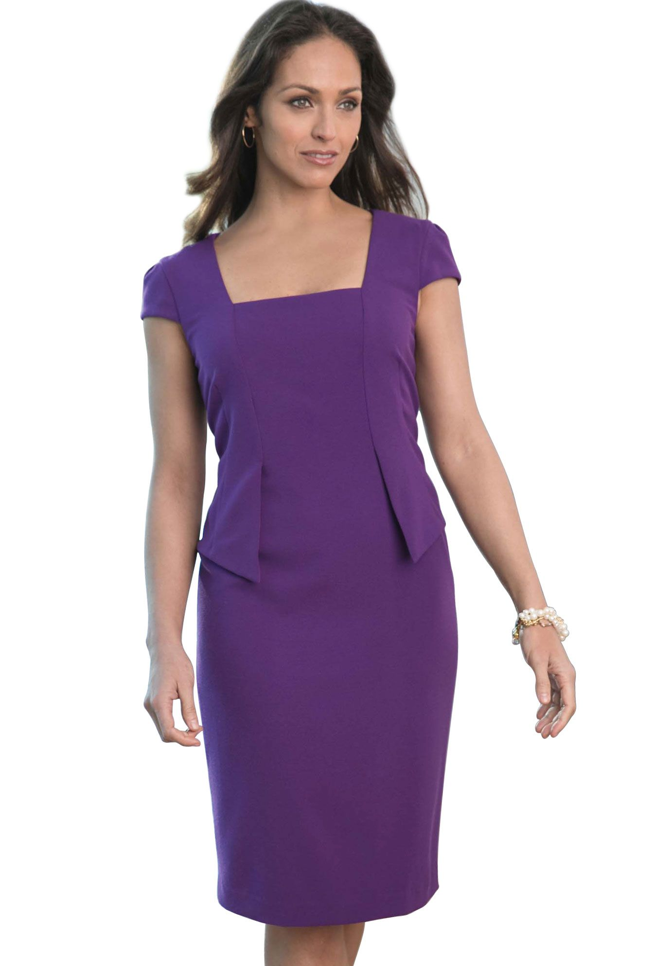 Crepe Peplum Sheath | Plus Size Work Dresses | Jessica London ...