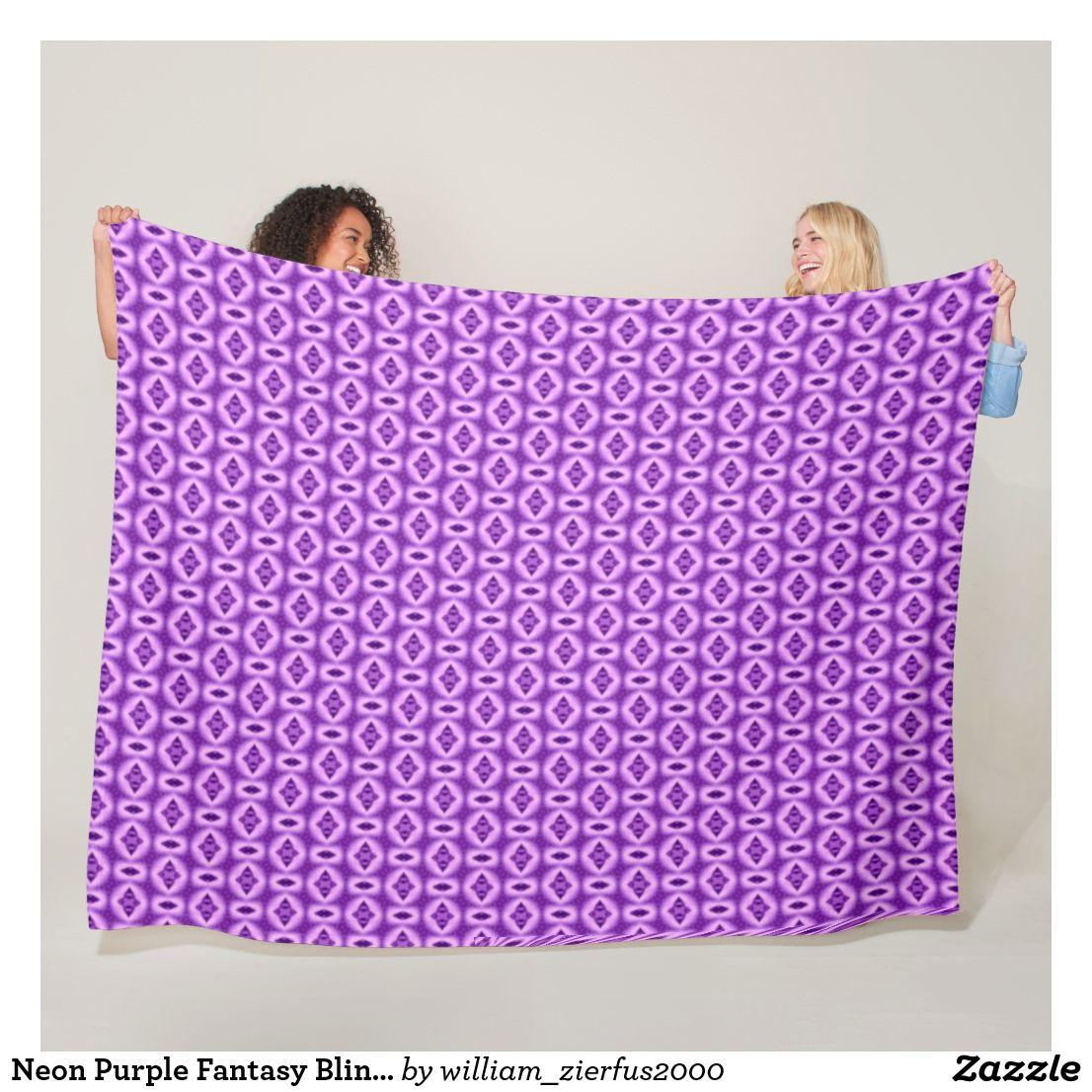 Neon Purple Fantasy Bling Plush Quilt Fleece Blanket   Willy Ware ... be5401076ce
