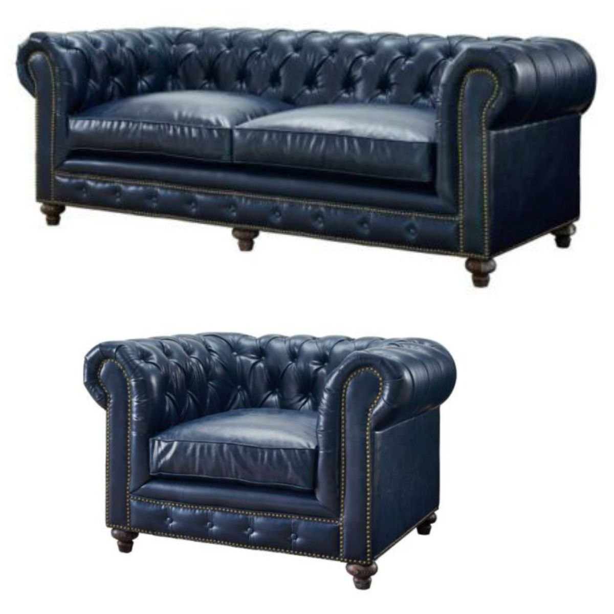 Swell This Blue Chesterfield Sofa And Armchair Set Has All The Machost Co Dining Chair Design Ideas Machostcouk