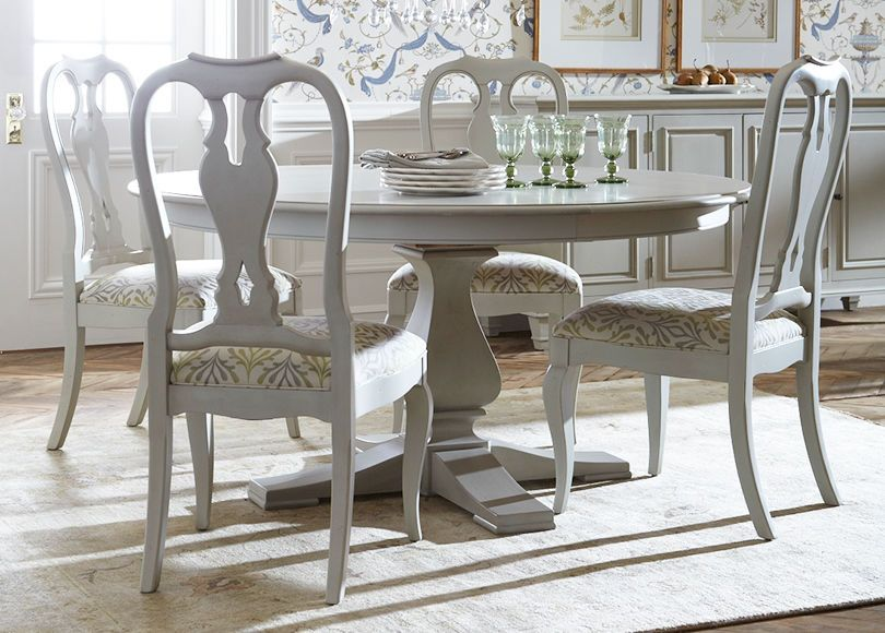 Cameron Round Dining Table  Rye  Cotton 226610  Large_Gray Unique Ethan Allen Dining Room Tables Decorating Inspiration