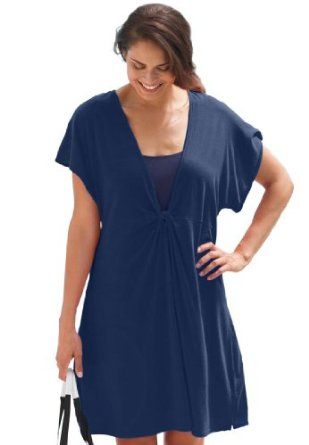 d43590bf0df81 Swim 365 Plus Size Cover-Up With Knotted Front (Indigo