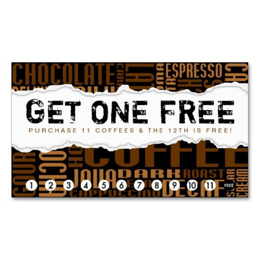 Get one free coffee loyalty card coffee business business cards get one free coffee business cards wajeb