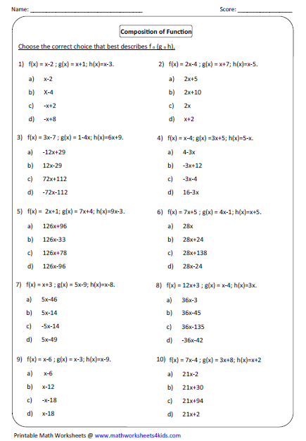Composition Of 3 Functions Worksheet