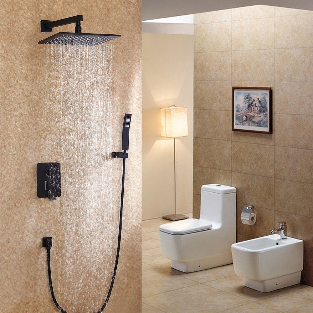 Dree Black Wall Mounted Rain Shower & Handheld Shower Set Solid ...