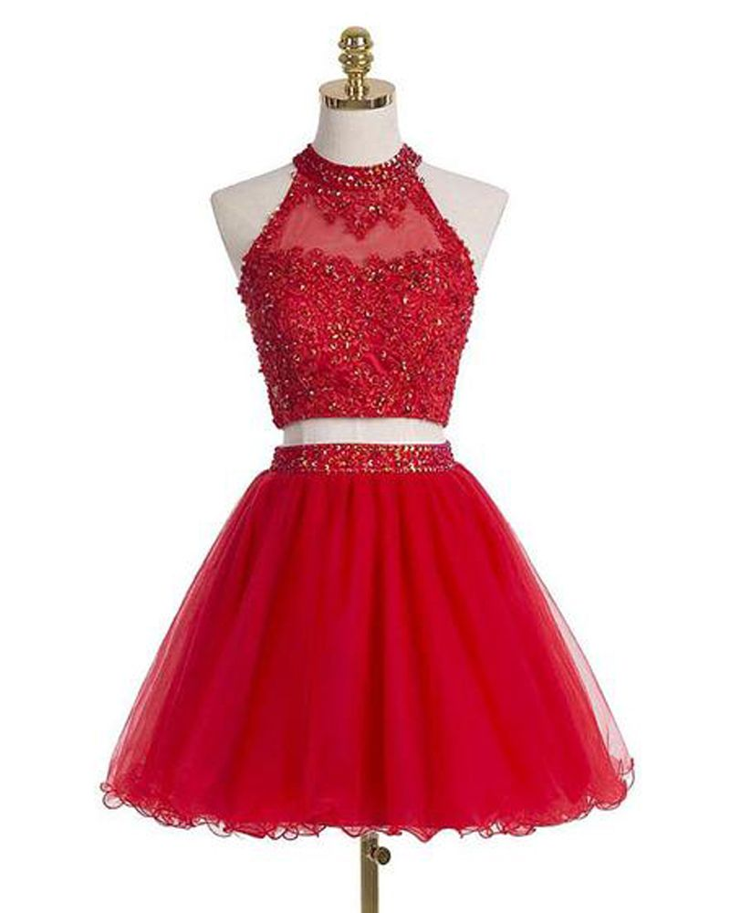 Red short prom dressestwo piece ho homecoming dresses homecoming