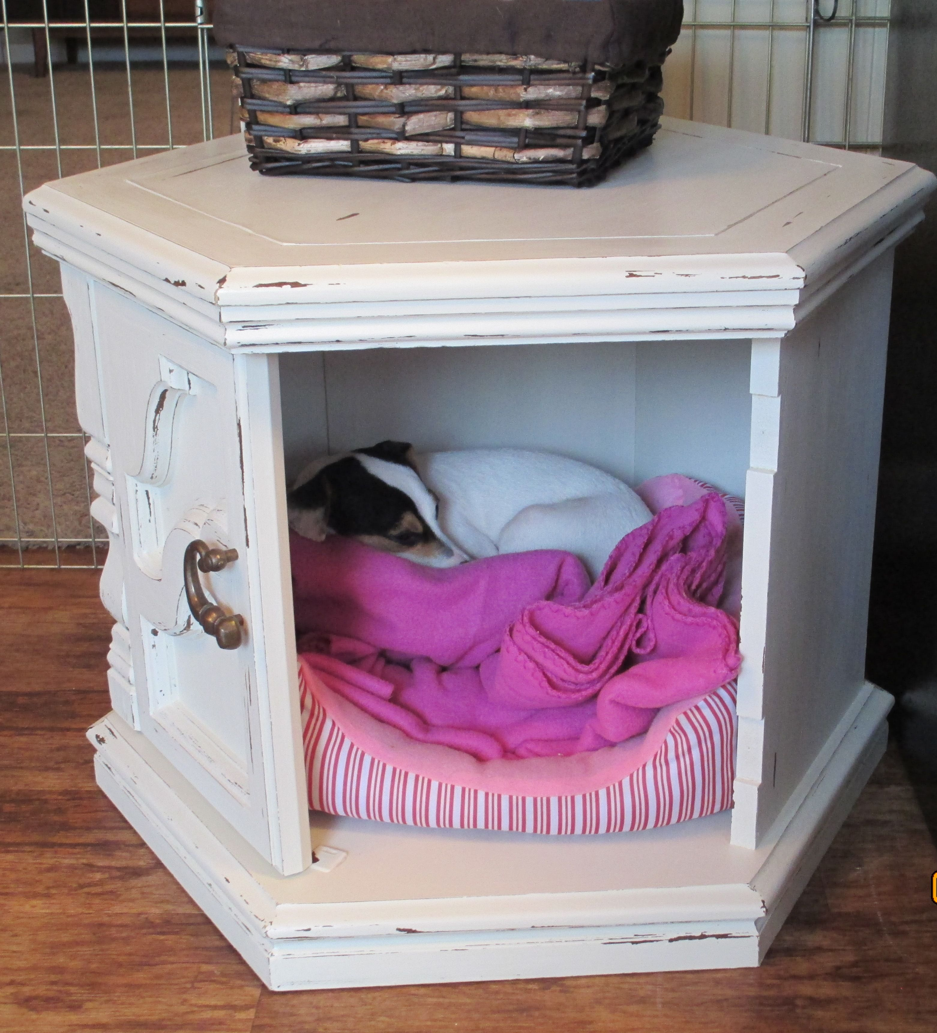 Side table dog bed hide out made with diy chalk paint for Dog bed table