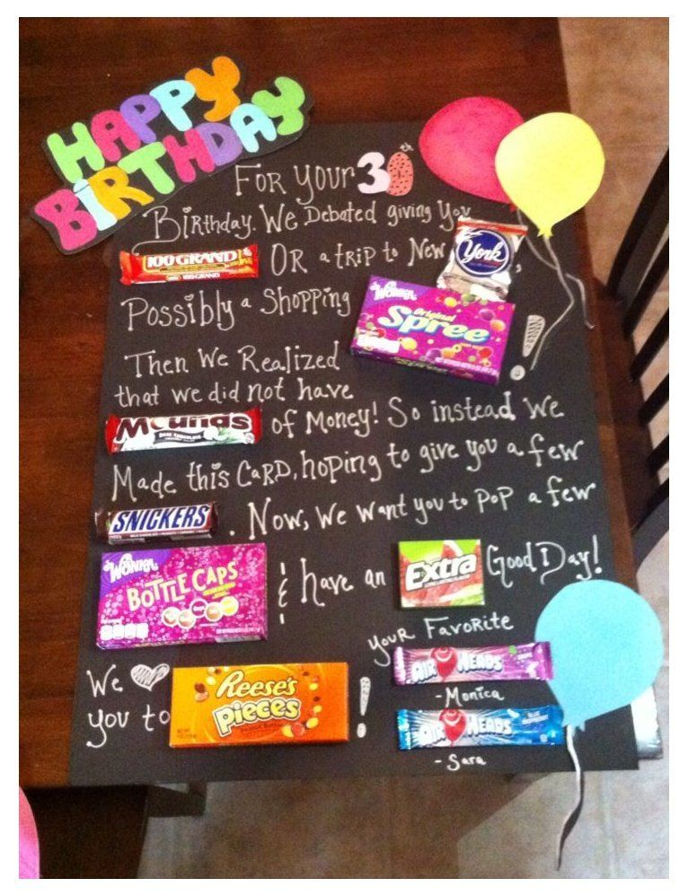 30 Things For 30th Birthday Gift Baskets 30thingsfor30thbirthdaygiftbaskets Birthda In 2021 Birthday Candy Posters Candy Birthday Cards Homemade Birthday Gifts