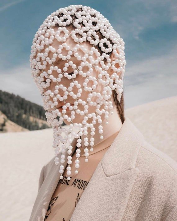 Pearl Face Mask Avery, Haute Couture Mask