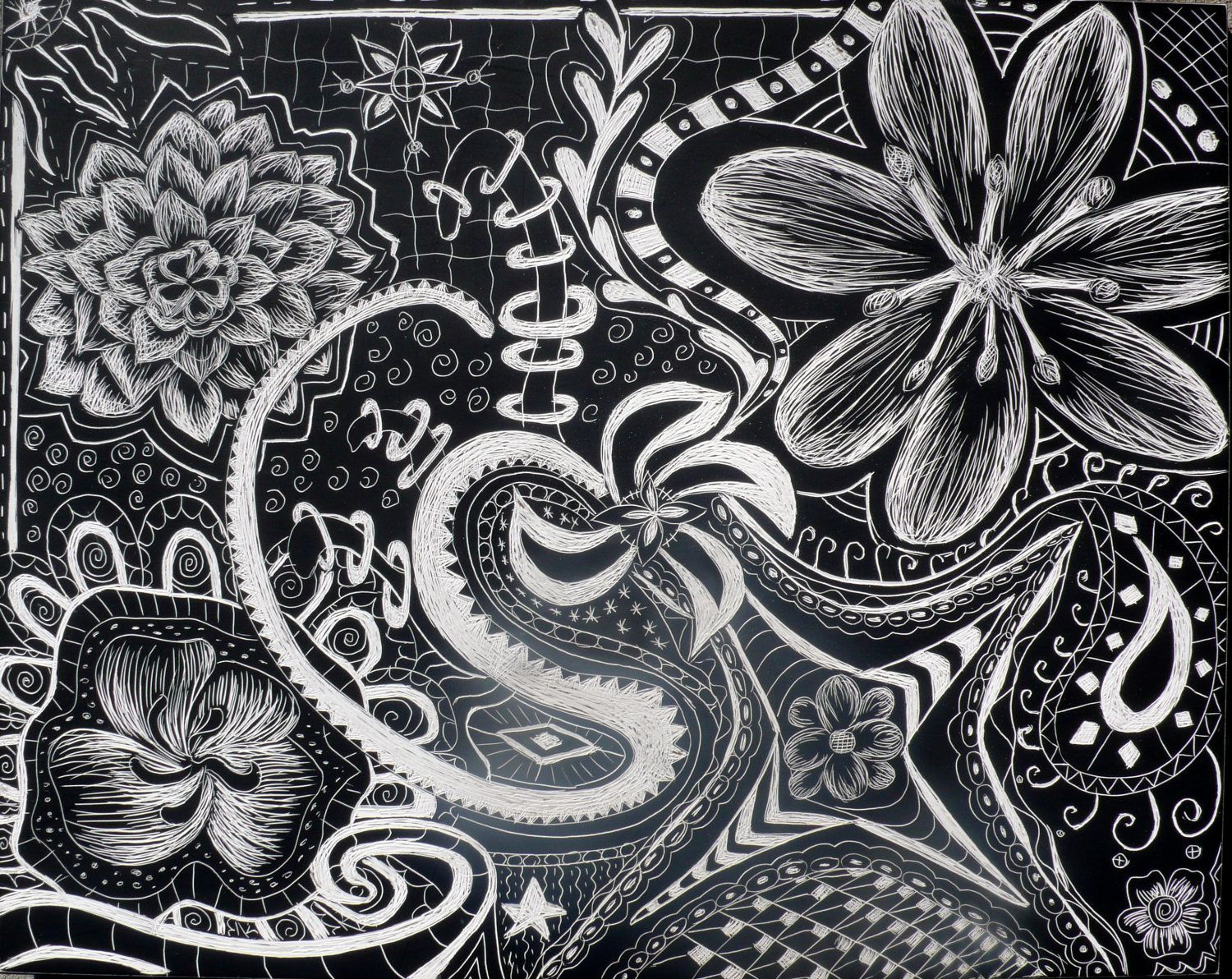 zentangle flowers flower abstract zentangle doodle on scratchboard by abbyescobalart