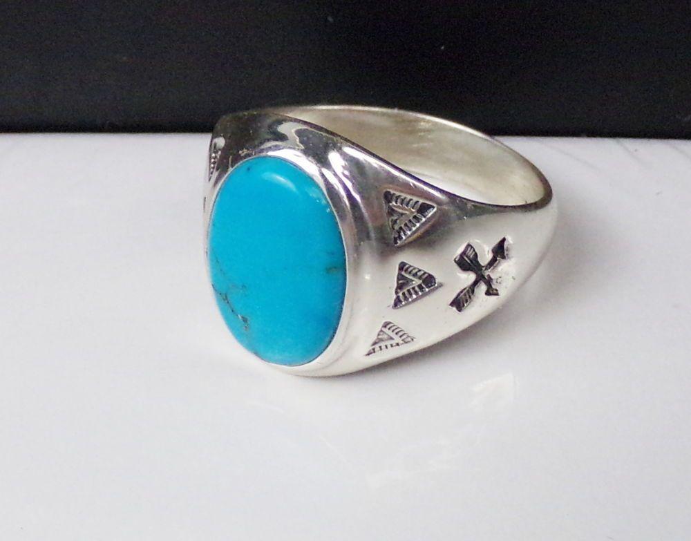 Old Mens Sterling Silver Turquoise Ring Southwestern Design signet
