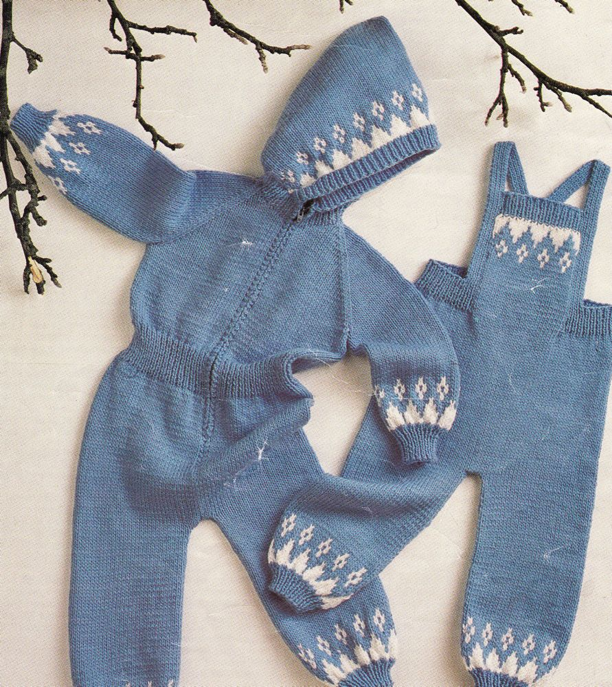Vintage Knitting Pattern Instructions to Make DK Toddlers Onesie and ...