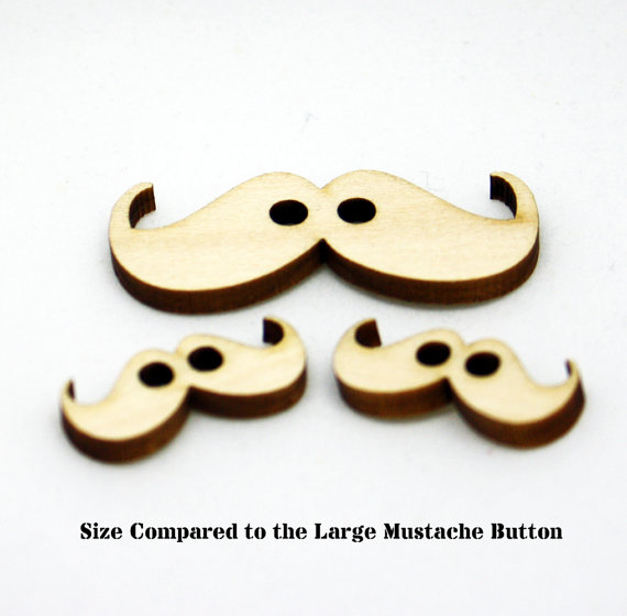 Mini Mustache Buttons Set of 2 Laser Cut Wood Button by Tangerine8