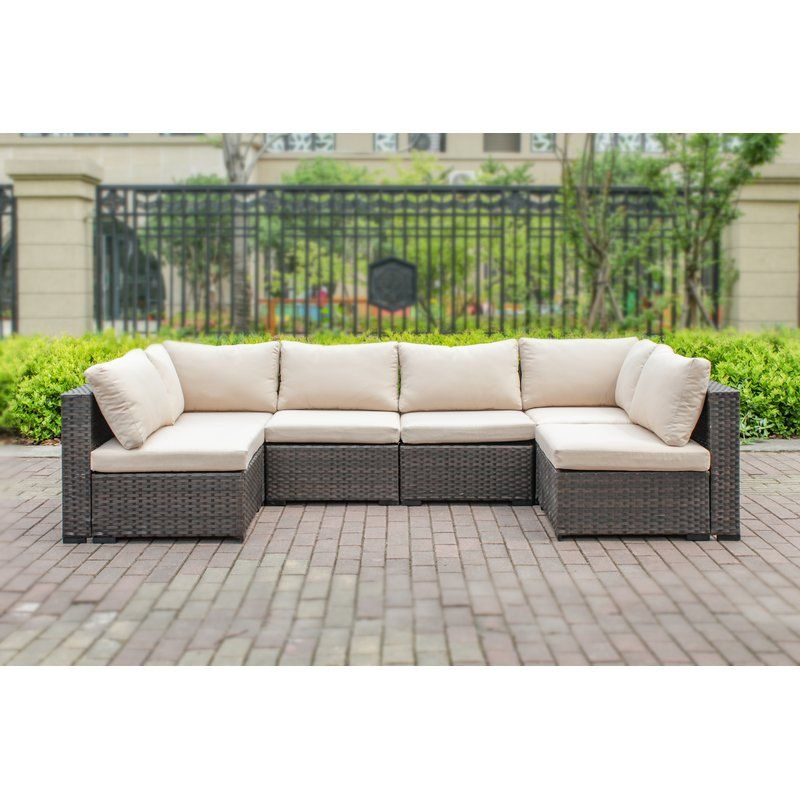 Best Holliston 6 Piece Rattan Sectional Seating Group Set With 400 x 300