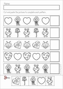 FREE Valentine's Day Patterns Practice Page for Kindergarten | TpT