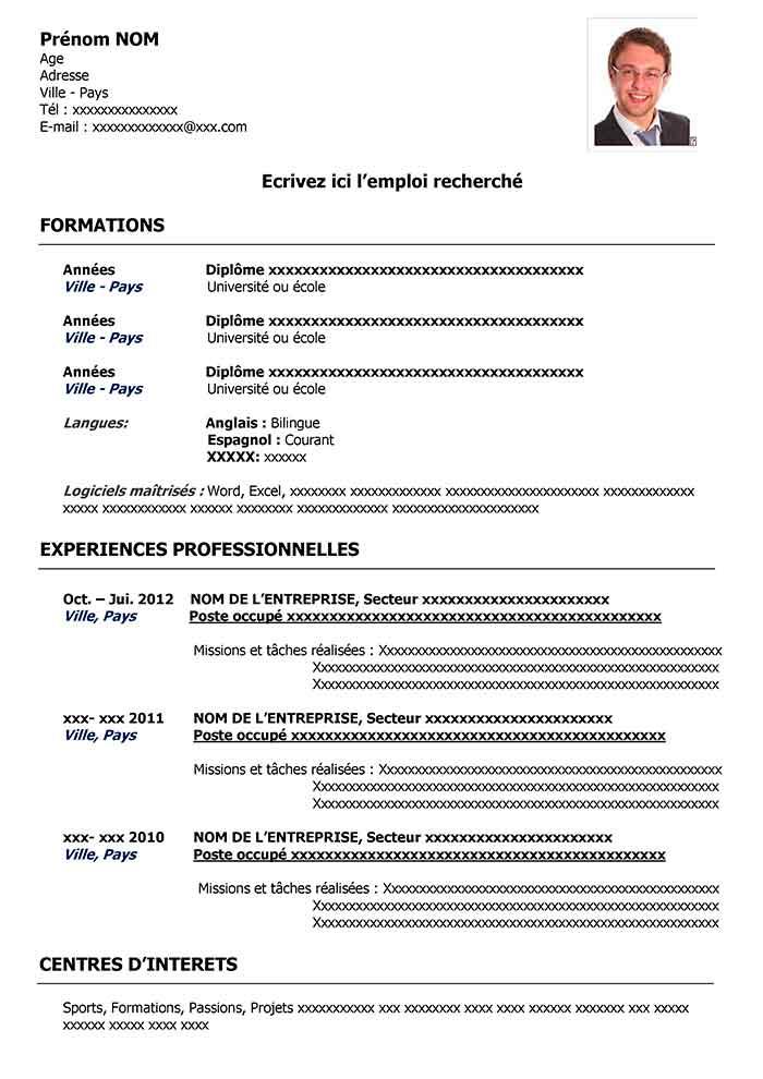 Modele De Cv Classique Noir Exemples Cv Word Curriculum Vitae Curriculum Resume Words