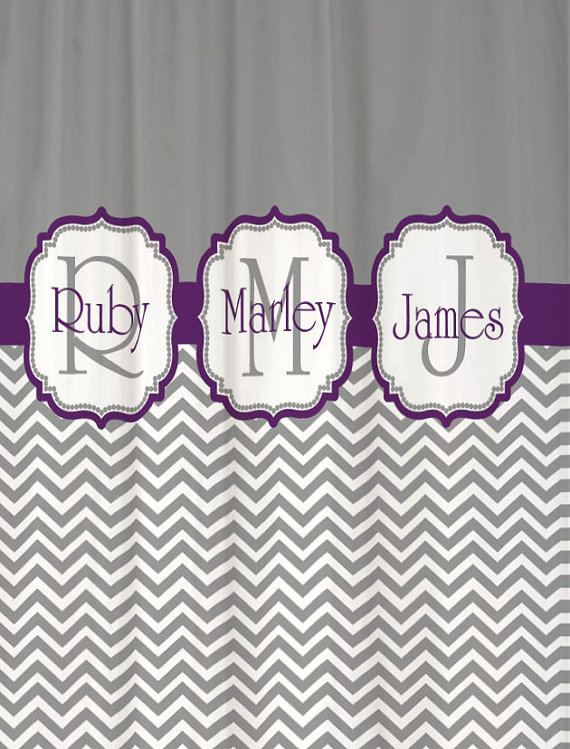 Thinking About Painting My Bathroom Grey And Eggplant Really Like This Idea But May Put Faith Chevron Shower Curtain Custom Monogram Shower Curtain Monogram
