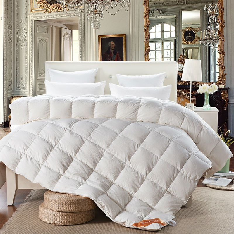 Hot Prices From Ali Svetanya White Goose Down Quilt Luxury Quilting Duvet Winter Comforter Solid Color Twin Queen King Size Stiching Blanket