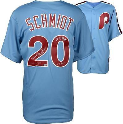 Mike Schmidt Phillies Signed Majestic Cooperstown Blue Jersey Mutliple Inscs Baseball Mike Schmidt Jersey Philadelphia Phillies