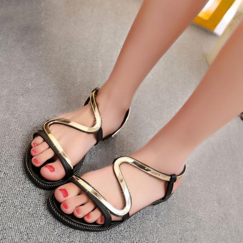 17799663f8341b Shoespie Cute Metal Curve Strappy Flat Sandals