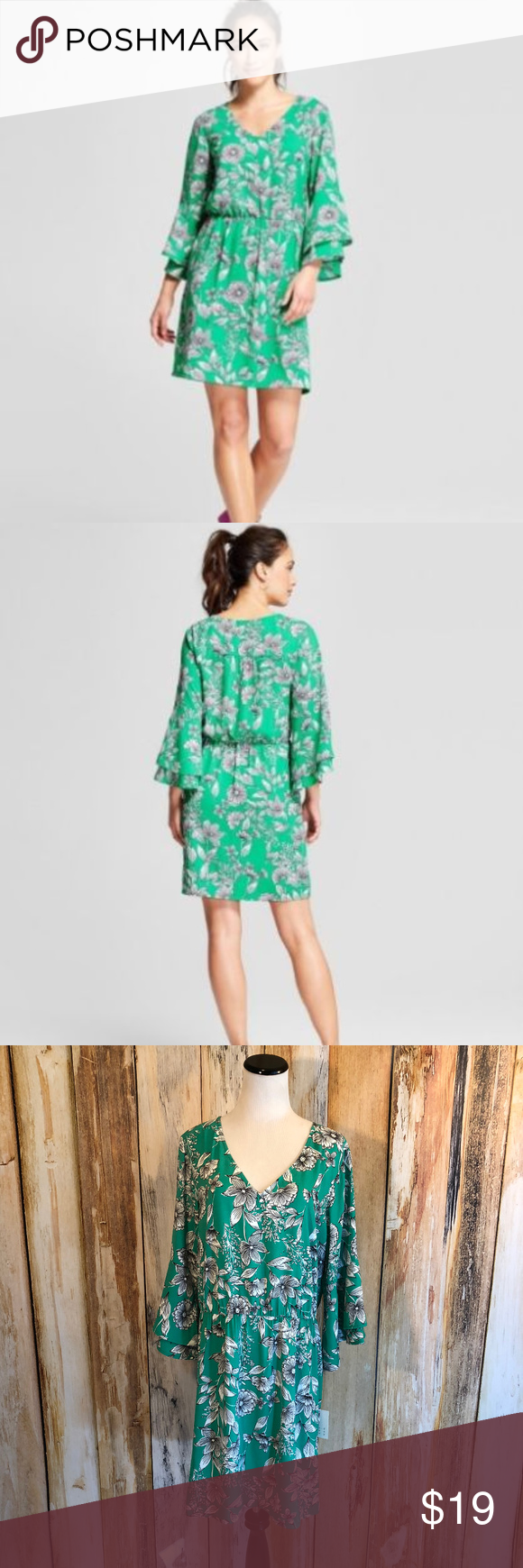 Target A New Day Dress Green White Floral Xl Nwt Green Dress Day Dresses Clothes Design [ 1740 x 580 Pixel ]