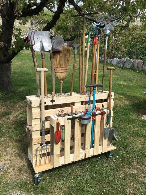 Garden tool storage – Gartengeräte organisieren, Palettenwagen mit Rollen  aufbewahrung gartengerate mit organisieren Palettenwagen Rollen