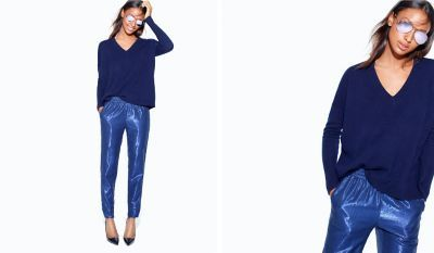 J.Crew Looks We Love. Metallic pants and Ray-Bans with purple lenses.