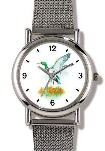 Mallard Duck JP - Bird Animal - WATCHBUDDY® ELITE Chrome-Plated Metal Alloy Watch with Metal Mesh Strap-Size-Small ( Children's Size - Boy's Size & Girl's Size ) WatchBuddy. $79.95