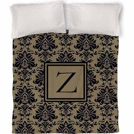 Thumbprintz Damask Monogram Duvet Cover, Black and Gold