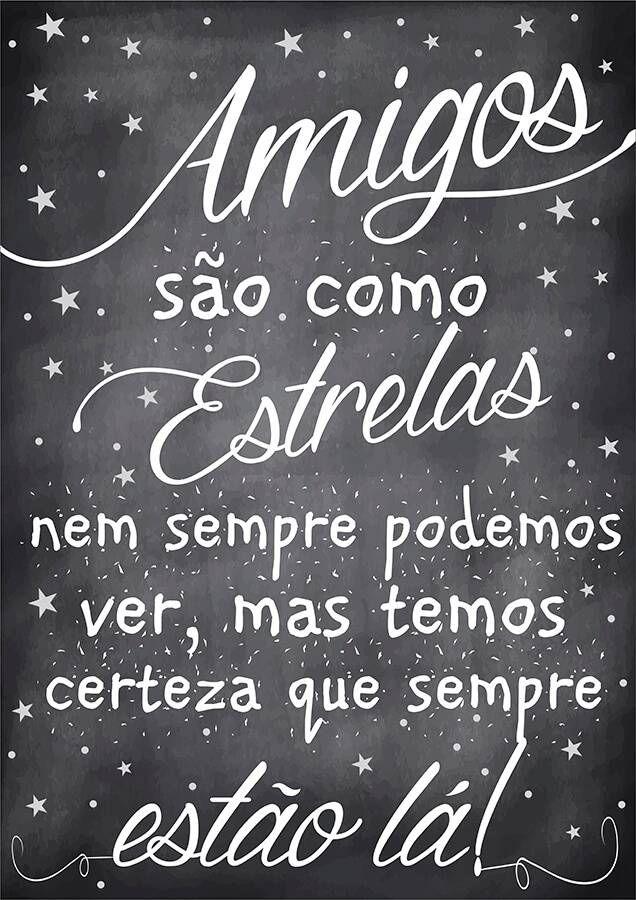 Poster Fofo tipo Lousa - Amigos são como Estrelas - Sabrina Matias ...