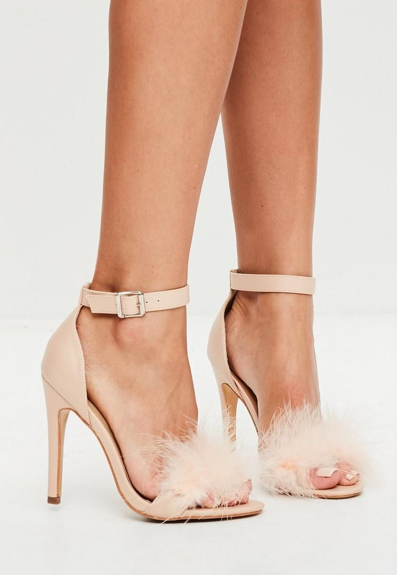 3a62efa16e12f Nude Feather Strap Barely There Heels