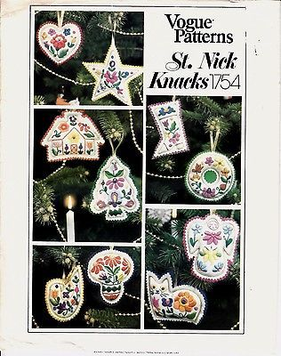 Vogue Christmas Ornaments Stockings Embroidery Transfers Sew Pattern ...