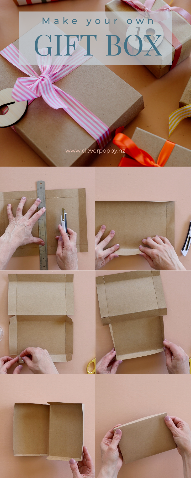 Make Your Own Cardboard Gift Boxes No Template Needed Clever Poppy Diy Gift Box Template Homemade Gift Boxes Gift Box Template