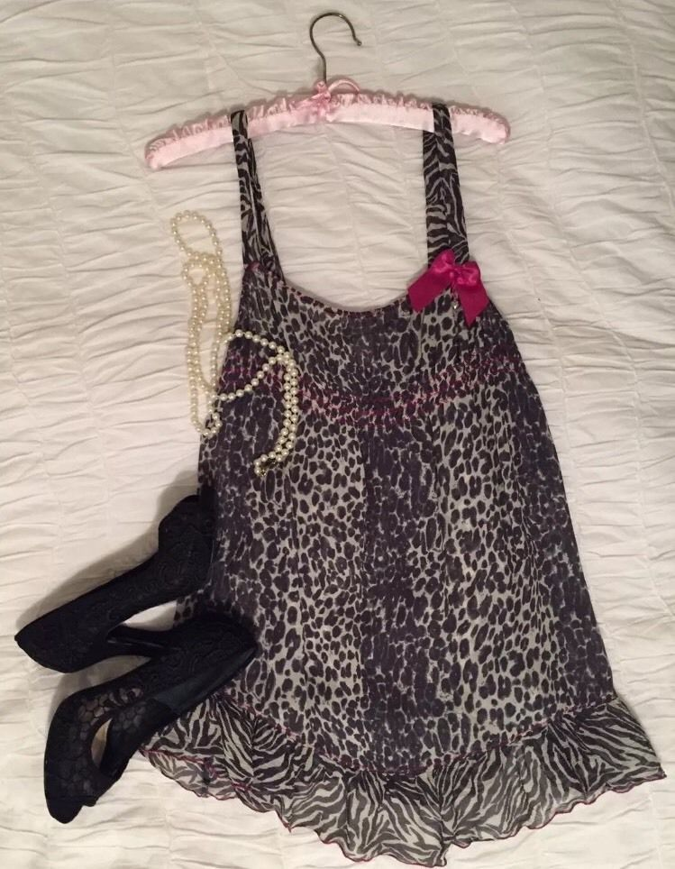 ff0288817b Intimissimi Italy Silk Leopard Ruffle Empire Babydoll Chemise Gown Lingerie  Sz L