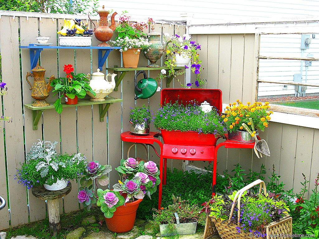 Potted  Plants Repurposed Grill as a Planter