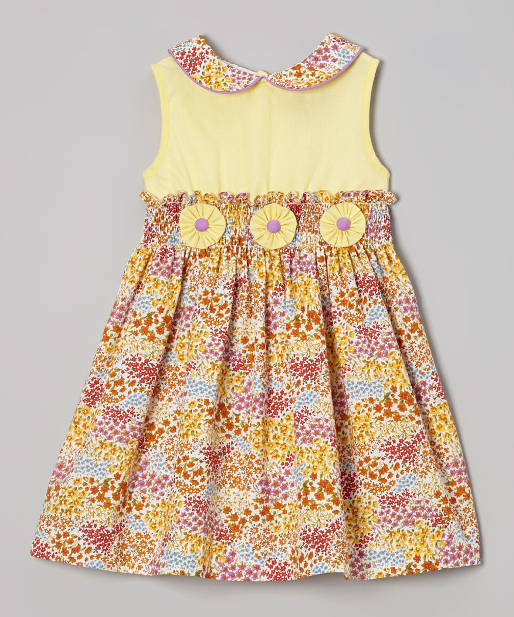 Yellow dress kids  Yellow u Purple Flowers ALine Dress  Infant Toddler u Girls
