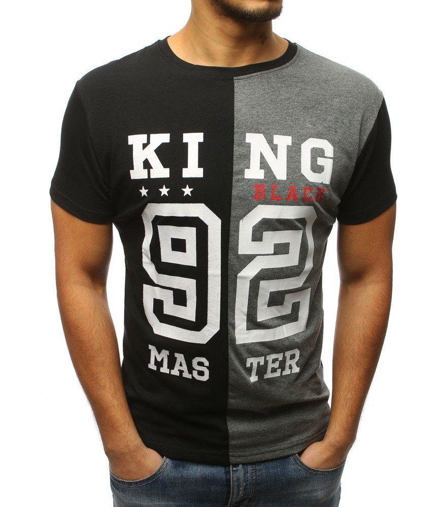 3da070c2fcc4 Čierno-antracitové pánske tričko s potlačou. Vyrobená z mäkkého