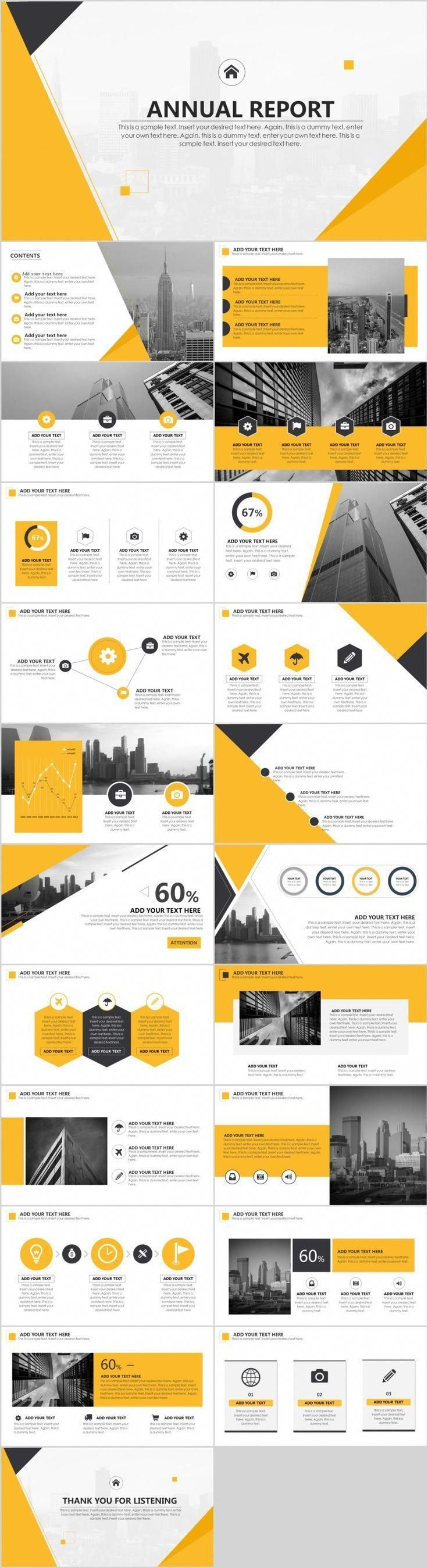 Yellow annual report PowerPoint template - #annual #culture #PowerPoint #Report #Template #yellow #annualreports