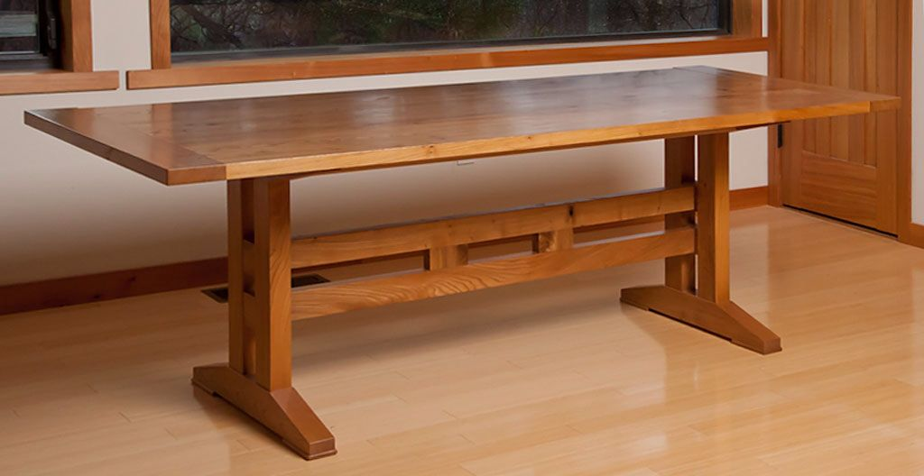 Arts and crafts Red Elm trestle table. (With images ...