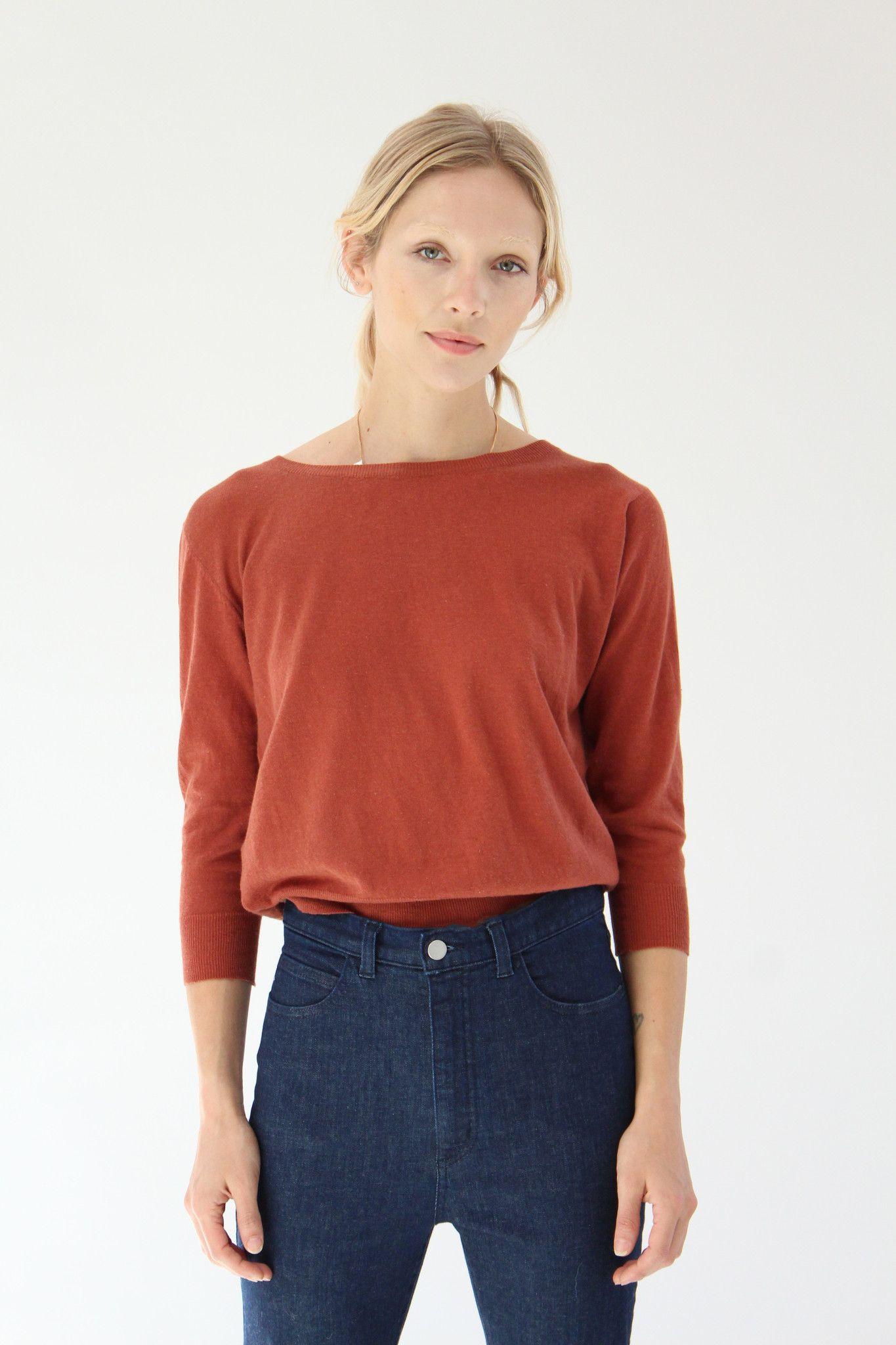 Beklina Cotton 3/4 Sleeve Knit Top Spice