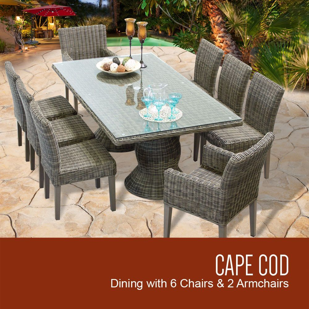 Vintage armless chairs - Cape Cod Vintage Stone Rectangular Outdoor Patio Dining Table With 6 Armless Chairs And 2 Chairs