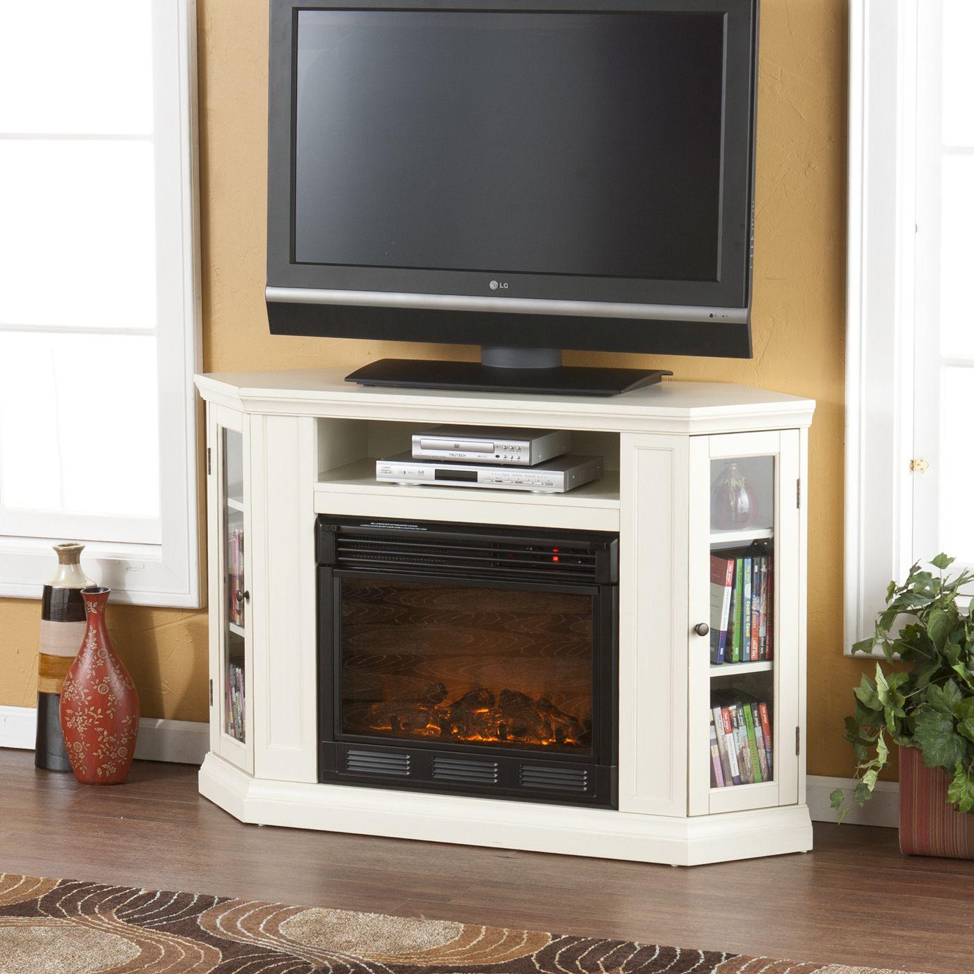 White Corner Tv Stand W Fireplace Corner Fireplace Tv Stand