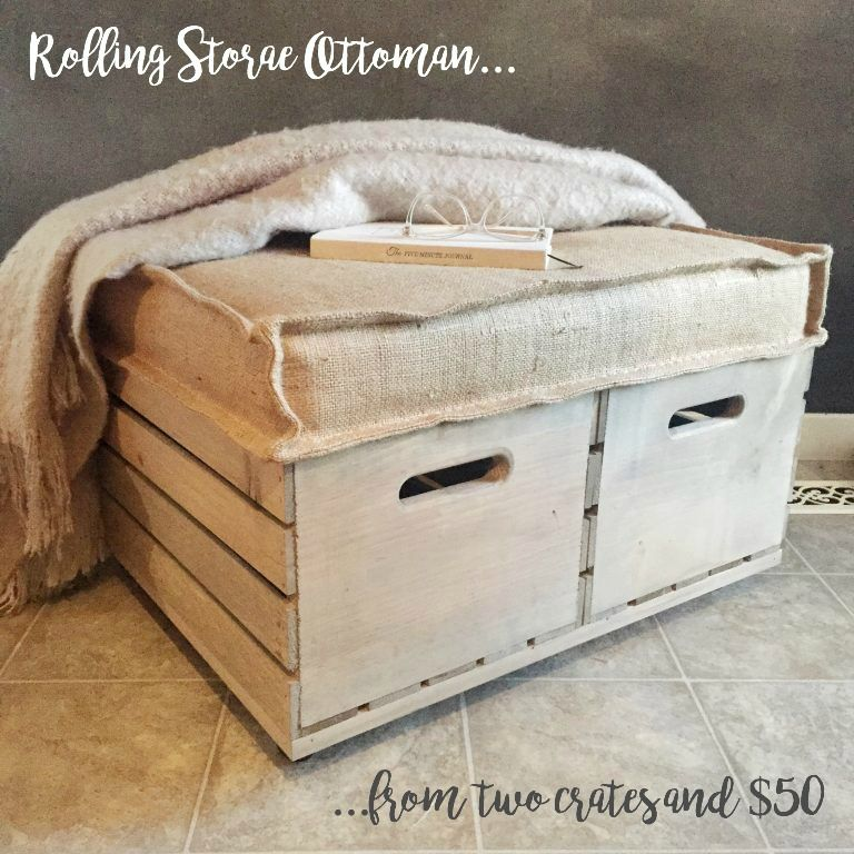 Create a rolling storage ottoman via Feathering My Nest